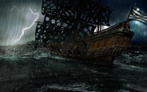 natural lighting, Greece, pirates, thunder