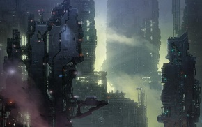 science fiction, cyberpunk, city, future city