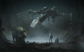 Luke Skywalker, Yoda, X, wing, Star Wars The Empire Strikes Back, R2