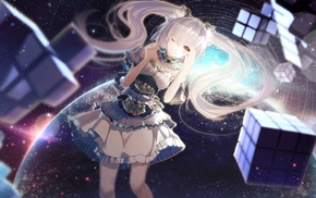 planet, cube, stars, twintails, yellow eyes, white hair