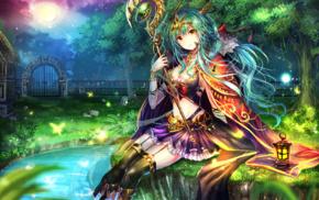 original characters, anime girls, anime, blue hair, staff