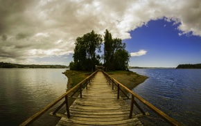 landscape, nature, wooden surface, trees, island, Chile
