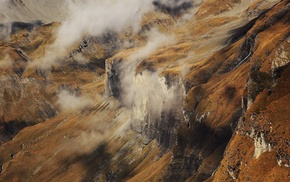 mountain, clouds, cliff, aerial view, creeks, landscape