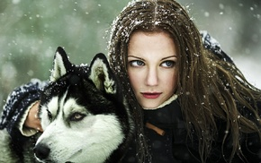 animals, brunette, wolf, winter, snow, red lipstick