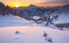 sunrise, nature, cabin, snow, sky, winter
