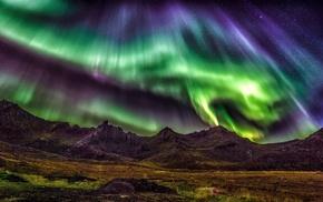 landscape, lights, sky, starry night, aurorae, mountain