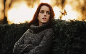 blue eyes, redhead, butterfly, open mouth, girl outdoors, girl