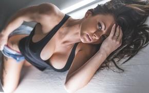 girl, tattoos, boobs, T, shirt, on the floor
