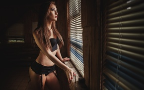 painted nails, window, Juan Carlos Mora, long hair, brown eyes, model