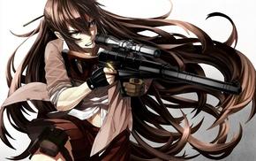 original characters, brunette, anime girls, weapon, VSS Vintorez