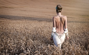 Petr Hingar, girl, field, tattoo, topless, backless