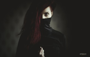 black nails, redhead, portrait, girl, hazel eyes, mask