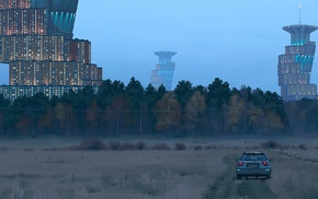 Simon Stlenhag, field, science fiction, forest