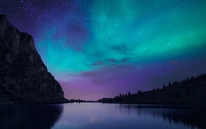 night, nature, lake, aurorae