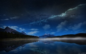 night, lake