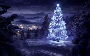 night, lights, Christmas Tree, snow