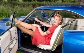 white, blue, red, calssical, chevrolet impala ss, blonde