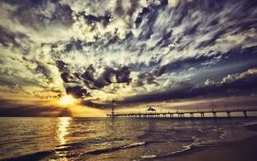 sky, sea, Sun, waves, rising sun
