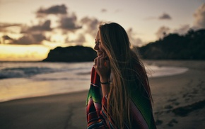 smiling, beach, sky, nature, sea, hill