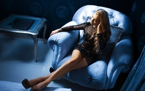house, blue, black, hair, heels, girl