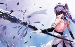 fantasy art, elbow gloves, blindfold, original characters, spear, twintails