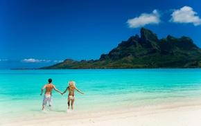 landscape, people, couple, beach