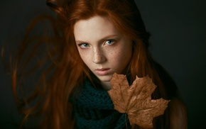 girl, freckles, face, redhead, leaves