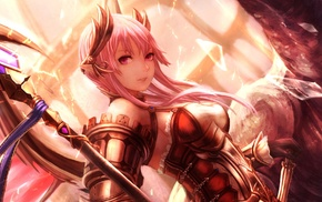 anime girls, pink hair, anime, original characters, staff, armor