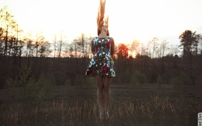 brunette, nature, grass, girl, trees, dress