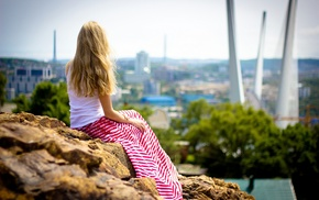 girl, hill, red, city, blonde, hair