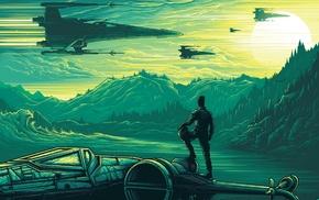 X, wing, Dan Mumford, Star Wars Episode VII, The Force Awakens, artwork