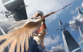 wings, clouds, flying, spear, fantasy art