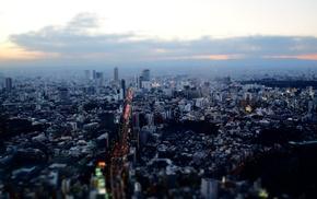 Japan, tilt shift, landscape, Tokyo, sunset