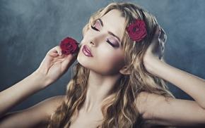 girl, Julia Sariy, wavy hair, bare shoulders, blonde, closed eyes