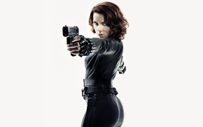 Scarlet Johansson, actress, gun, Black Widow