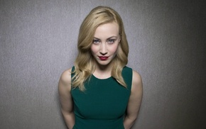 blonde, face, model, Sarah Gadon, green, dress