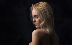 portrait, bare shoulders, model, girl, face, simple background