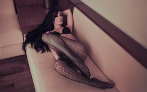 ass, black bras, model, long hair, Fedor Shmidt, fishnet stockings