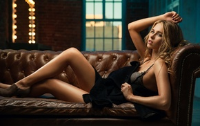 blonde, skirt, lying on back, legs, couch, hair