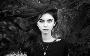 hair, white, black, monochrome, portrait, trees