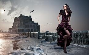 girl, model, black stockings, birds, cranes machine, running