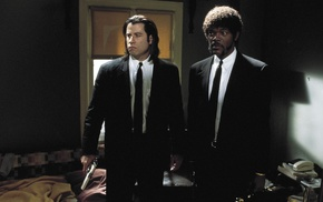 film stills, John Travolta, Samuel L. Jackson, tie, vincent vega, gangsters