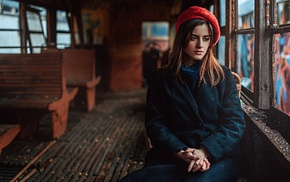 girl, Georgiy Chernyadyev, hat, brunette