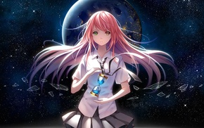 anime girls, heterochromia, pink hair, school uniform, original characters, hourglasses