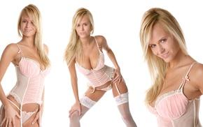 big boobs, stockings, blonde, VirtuaGirl, lingerie