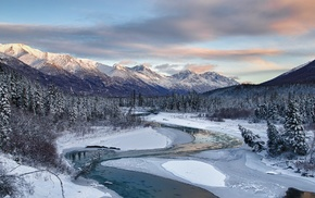 river, mountain, frost, winter, nature, landscape