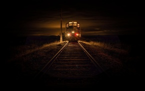 landscape, diesel locomotives, evening, railway, dry grass, lights