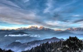 sunset, clouds, Himalayas, snowy peak, mountain, mist