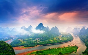 mountain, mist, morning, landscape, sunrise, China