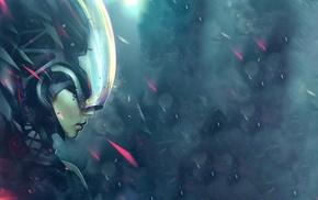 digital art, face, science fiction